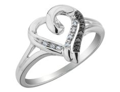 White+and+Black+Diamond+Heart+Promise+Ring+1/10+Carat+(ctw)+in+Sterling+Silver