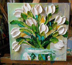 Oil Painting Impasto Painting White Tulips Art via Etsy Folk Art Flowers, Abstract Flowers, Texture Art, Texture Painting, Oil Painting Flowers, Art Abstrait, Mural Art, Beautiful Paintings, Art Oil