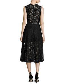 Karina Grimaldi Coco Sleeveless Lace Dress, Black