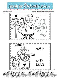 Free Printable Labels - There is a tutorial for stitching them as well...