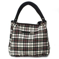 White, Black and Red Plaid Tote Handbag by NYCUrbanWear on Etsy