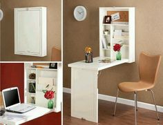 Space saving foldable table, for more kitchen counter space, a quick table for two, or a desk (as shown)