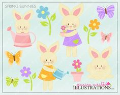 Spring Bunnies Cute Digital Clipart for Invitations, Card Design, Scrapbooking, and Web Design, Easter Clipart
