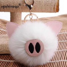 Other Clothing, Shoes, Accessories Love Keychain, Fur Keychain, Keychains, Lulu Love, Mini Pig, Cute Piggies, Pom Pom Crafts, Fur Accessories, Beaded Brooch