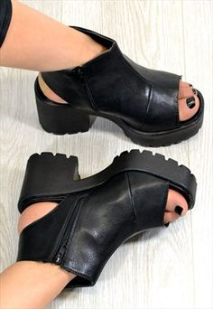 73bf5c7a651 Cattie Heeled Cleated Sole Platform Shoes Black Leather Style By ...