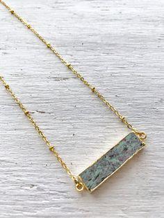 Gemstone Bar Necklace  Marbled Jasper 22k gold by LoveMyssa