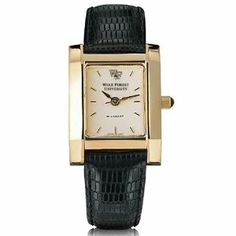 """Wake Forest Women's Gold Quad with Leather Strap by M.LaHart. $299.00. Scratch-resistant sapphire crystal.. Water-resistant to 30 meters.. Swiss-made quartz movement with 7 jewels.. Jewelry-grade gold finish with Swarovski black crystal cabochon.. Cream dial with hand-applied, faceted markers.. Wake Forest University women's gold watch featuring Wake Forest logo at 12 o'clock and """"Wake Forest University"""" inscribed below on cream dial."""