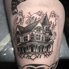 Haunted House tattoo by @jack_ankersen at Nothing in Stockholm Sweden #jackankersen #nothing #stockholm #sweden #hauntedhouse #hauntedhousetattoo #blackworktattoo #tattoo #tattoos #tattoosnob