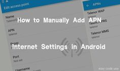 Sometimes we're unable to connect to the Internet, even after turning on the mobile data. The only solution to this problem is to add the correct APN Internet Settings in your device. Here is a complete guide to manually add these APN's in Android phones. Access Point Name, Internet Settings, Android Secret Codes, Android Hacks, Coding, Ads, Programming