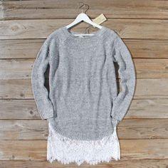 Skyline Lace Sweater Dress in Ash