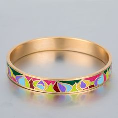 Bracelets & Bangles Pulseira Feminina Luxury Love Bracelet Men Women Jewelry Vintage Gold Plated Stainless Steel Enamel Bangle