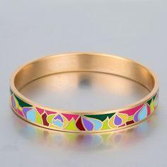 Bracelets & Bangles Pulseira Feminina Luxury Love Bracelet Men Women Jewelry Vintage Gold Plated Stainless Steel Enamel Bangle