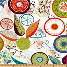 Valori Wells for Free Spirit Fabrics, this cotton print features a large, mod floral garden in colors of brown, green, cobalt blue, pink and orange on a white background