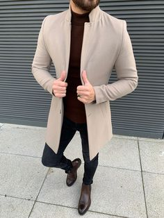 Collection: Fall – Winter Product: Slim Fit Wool Long Coat Color Code: Beige Available Size: Coat Material: Wool, Polyester Machine Washable: No Fitting: Slim-Fit Drop: 6 Package Include: Coat Only Mens Fashion Suits, Blazer Fashion, Fashion Belts, Men's Fashion, Moda Indie, Best Casual Shirts, Mode Costume, Long Wool Coat, Mens Clothing Styles