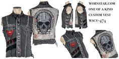 New!! One of a kind Wornstar Clothing custom vest. Only one is available. http://www.wornstar.com/products/stage-vest-rts-denim-and-leather-wscv-474 #wornstar