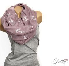 Loop Schal ♥ Anker rosa von Faitly auf DaWanda.com