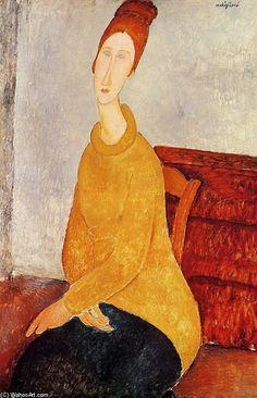 Amedeo Modigliani >> Yellow Sweater (aka Portrait of Jeanne Hebuterne)