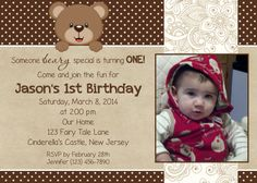 Teddy Bear Photo Invitation - Birthday - print your own