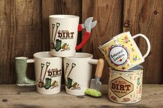 Gardening Shaped-Handle Ceramic Mugs and Slogan Tin Mugs #mug #gardening #slogan #giftware