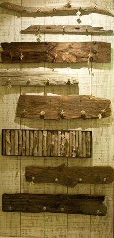 wall hanger handmade from driftwood, old wood and stone