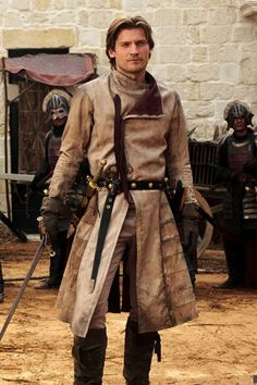 """#JaimeLannister #GameOfThrones: S1 E05 """"The Wolf and the Lion"""" - Jaime Lannister questions Ned outside of Littlefinger's brothel. He wants answers for Tyrion's arrest at the hands of Catelyn. Find the cosplay costume version by following the link: http://gameofthronescostumes.com/jaime-lannister-costume/"""