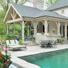 Pool House....Traditional Home outdoor built-in grill