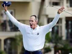 Matt Kuchar celebrates after sinking a birdie putt from the bunker on the 18th green to win the final round of the RBC Heritage golf tournament in Hilton