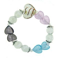 Pugster Handmade Murano Glass Multi Color Heart Bracelet Pugster. $13.99. Plating: SILVER TONE. Stones: MURANO GLASS. Metal: SILVER TONE. Note: every piece of hand-made glass is slightly different in pattern and shape.