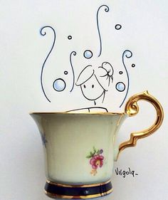 Find images and videos about girl, drawing and cup on We Heart It - the app to get lost in what you love. Funny Doodles, Small Sculptures, Tea Art, Everyday Objects, Cute Illustration, Cool Cards, Artist Art, Doodle Art, Cute Drawings