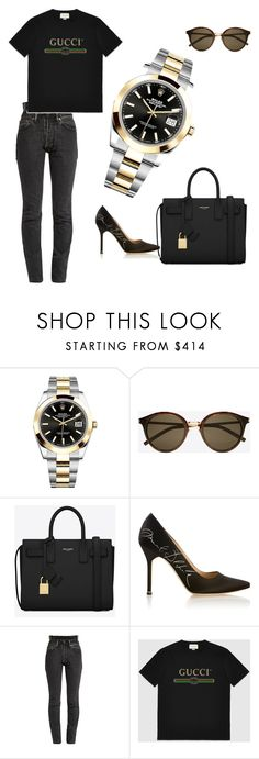 Rolex Datejust 41 126303-BLKSO by authenticwatches on Polyvore featuring Gucci, Vetements, Yves Saint Laurent, Rolex, watch and rolex