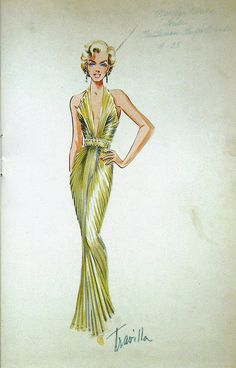 Costume design sketch for Marilyn by Travilla