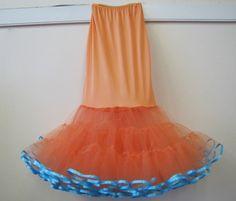 Repurposed slip made into mermaid crinoline