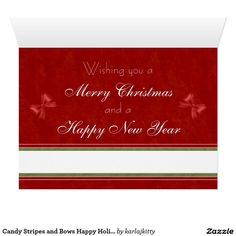 Candy Stripes and Bows Happy Holidays Card