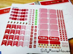 Printable Planner Stickers - Monthly Sampler Kit in Red - For Erin Condren, Happy Planner, Filofax and Other Planners - 97 Total Stickers