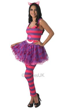 Womens Disney Alice in wonderlands Cheshire Cat Costume in Clothes, Shoes & Accessories, Fancy Dress & Period Costume, Fancy Dress Run Disney Costumes, Cat Costumes, Costumes For Women, Costume Ideas, Cat Alice, Costume Chat, Cheshire Cat Costume, Pink Lila, Period Costumes