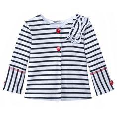 3 pommes SS14   Ropa bebé y moda infantil niño y niña Cardigan a rayas azul Marino