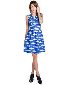Gone Fishing Blue Ocean Fish Print Cotton Mini Dress listed under 67. Def Planet