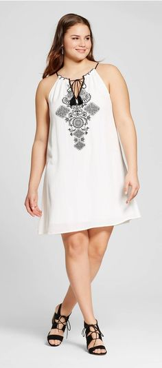 Plus Size Sleeveless Tie Front Shift Dress