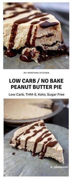 No Bake Low Carb Peanut Butter Pie (THM-S, Keto, Sugar Free, Gluten Free)