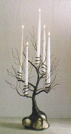 idea, craft, candelabra, candle holders, candles, tree branches, wire trees, light, halloween