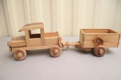 Eco Friendy Wooden Toy Truck with Trailer for by Aroswoodcrafts, $14.99