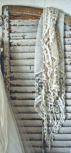lace and shabby white shutters