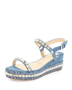 e3016b24931c CHRISTIAN LOUBOUTIN Blue Wedge Sandals