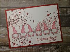 Background stamped with SF Stamps stars tail. Diy Cards, Christmas Cards, Essentials Magazine, Arts And Crafts, Paper Crafts, Christmas Gnome, Card Maker, Stamping Up, Cardmaking