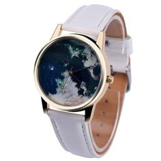 Planet sky traveler gold-tone watch with faux leather strap. Symbolic reminder to always seek adventures that open your mind and never stop wondering & wandering. :) Perfect for stacking with other br