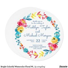 Shop Bright Colorful Watercolor Floral Wedding Invitation created by wingding. Summer Flowers, Floral Flowers, Floral Wedding Invitations, Watercolor Flowers, Invitation Cards, Summer Wedding, Bright, Colorful, Nice