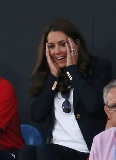 Britain's Catherine, Duchess of Cambridge reacts as she attends the women's semifinal hockey match between Great Britain and Argentina at the Riverbank Arena at the London 2012 Olympic Games August 8, 2012.