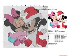Baby Minnie and Mickey Mouse Christmas kiss free cross stitch pattern - free cross stitch patterns simple unique alphabets baby Mickey E Minnie Mouse, Mickey Mouse Christmas, Disney Christmas, Cross Stitch Christmas Ornaments, Christmas Cross, Christmas Patterns, Disney Cross Stitch Patterns, Cross Stitch Designs, Stitch Cartoon
