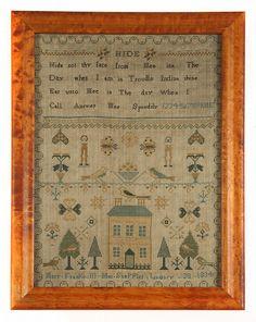 JONATHAN WINTERS COLLECTION OF FOLK ART SAMPLERS - Mary Frankcom 1834
