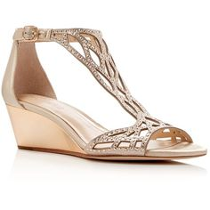 Imagine Vince Camuto Jalen Metallic Rhinestone Cutout Wedge Sandals (205 CAD) ❤ liked on Polyvore featuring shoes, sandals, gold, jeweled wedge sandals, heeled sandals, jeweled sandals, wedge sandals and rhinestone wedge shoes